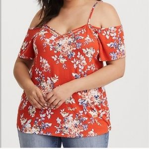 Torrid Orange Floral Crepe Cold Shoulder Blouse 0